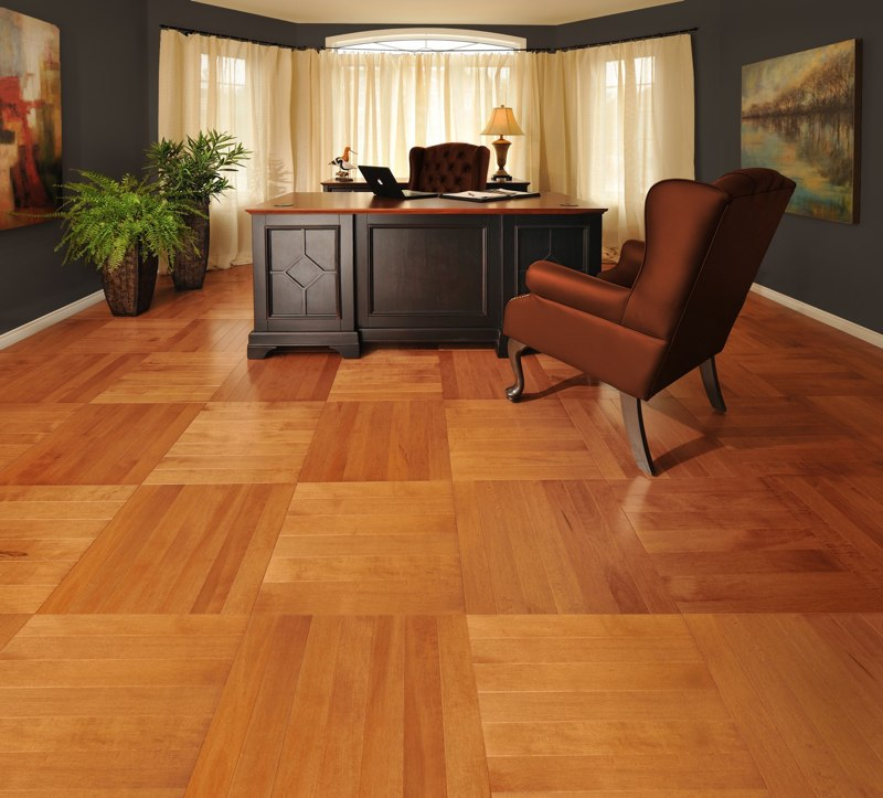 Living Room With A Natural Maple Hardwood Floor